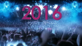 2016 Crowd of people and fireworks explosions zoom out camera stock illustration