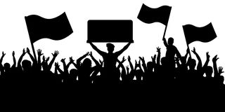 Crowd of people with flags silhouette background. Sports fans.  Stock Photos