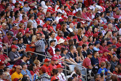 Crowd of people at a football game Royalty Free Stock Image