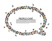 A crowd of people in the form of a chat symbol. A crowd of people in the form of a chat symbol on a white background . Vector illustration royalty free illustration