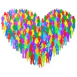 Crowd of people in the form of heart,illustration Stock Photo