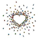 Crowd of people in the form of a heart symbol. Crowd of people in the form of a heart symbol on a white background . Vector illustration stock illustration