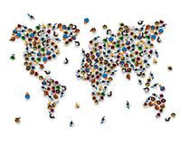 Crowd of people in the form of world map. Royalty Free Stock Image