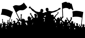 Crowd of people, friends at a party silhouette. Concert, festival, music. Cheer crowd people. Audience cheering applause. Cheerful sports fan. Mob soccer Royalty Free Stock Images