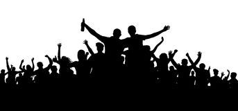 Crowd of people, friends at a party silhouette. Concert, festival, music. Cheer crowd people. Audience cheering applause. Cheerful sports fan. Mob soccer Stock Image