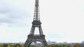 Crowd of People in front of Eiffel Tower stock footage