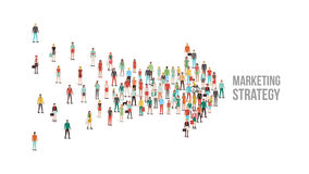 Crowd of people gathered in an arrow shape. Leadership, choice and direction concept Royalty Free Stock Photo