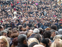 Crowd of people. Gathered in Piazza Espagna, Rome Royalty Free Stock Images
