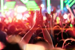 Crowd of People Hands Clap Concert Stage stock photo