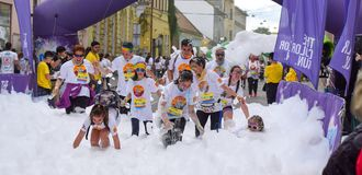 Color Run Festival Cluj Napoca 2019, Romania. Crowd of people having fun at the Color Run Cluj Napoca 2019, Romania stock photos