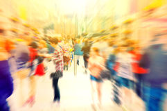 Crowd of people. Hurrying crowd of people on the street. Abstract motion picture Royalty Free Stock Photo