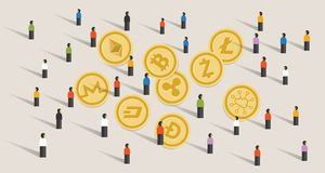 Crowd people hype together crypto-currency coin set bitcoin. Crowd people hype together crypto-currency coin set bitcoin digital currency virtual money Royalty Free Stock Photos