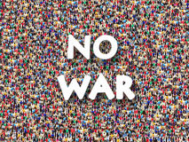 Crowd of people with inscription No war. Crowd of different people with inscription No war stock photo