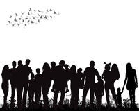 Crowd  people. Isolated, silhouette of a crowd of people Royalty Free Stock Photography