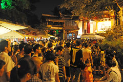 Crowd people in jinli old street Stock Images