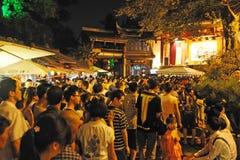 Crowd people in jinli old street Stock Images