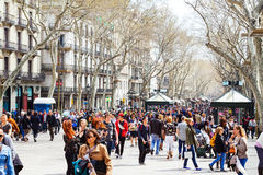 Crowd of people at La Rambla, Barcelona. Spain Royalty Free Stock Photo