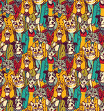 Crowd people like cats and dogs seamless pattern Stock Images