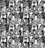 Crowd people like cats and dogs seamless pattern Stock Photo