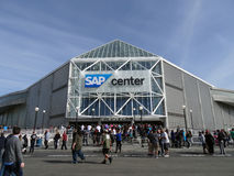 Crowd of People line up to enter the SAP Center for live taping Stock Photography