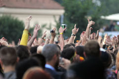 Crowd of people at a live concert Royalty Free Stock Photos