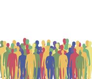 A crowd of people from multi-colored men`s silhouettes waiting company stands at the bottom, a blank white area at the top of the stock illustration