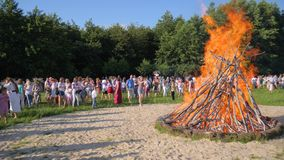 Crowd of people near big great balefire on Nature, bright Festive fire On forest glade, Folk Festivities on open air stock video