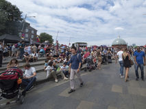 Crowd of people near Cutty Sark clipper, Greenwich Village London royalty free stock images