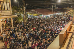 Crowd of people in New Year night Stock Images