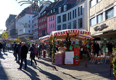 Crowd of people on a Nuremberg`s Christmas Market. Germany stock photo