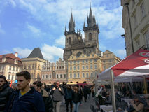 Crowd of people on Old Town Square in Prague Stock Photo