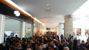 Crowd of people at the opening of DJI Store. Moscow, Russia - April 1, 2017: Crowd of people at the opening of DJI Authorized Store stock video