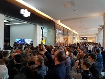 Crowd of people at the opening of DJI Store Stock Photos