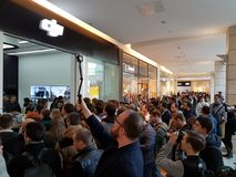 Crowd of people at the opening of DJI Store Stock Image