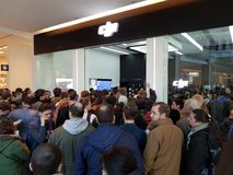Crowd of people at the opening of DJI Store Royalty Free Stock Photography