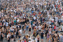 Crowd of people in park Mauerpark at royalty free stock photography