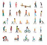 Crowd of people performing summer outdoor activities - walk, riding bicycle, skateboarding. Group of male and female and. Kids flat cartoon characters isolated royalty free illustration