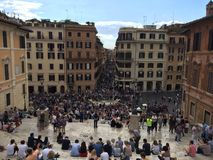 Crowd of people in piazza di spagna in rome stock photos