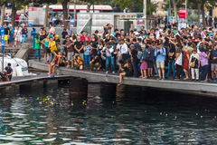 Crowd of people on the pier in Barcelona Stock Photography