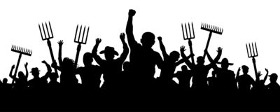 Crowd of people with a pitchfork shovel rake. Angry peasants protest demonstration. Riot workers vector silhouette.  royalty free illustration