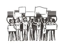Crowd of people with placards on demonstration. Manifestation, protest sketch. Vector illustration royalty free illustration
