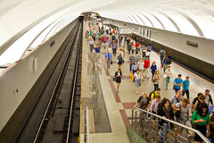 Crowd of people on the platform at rush hour; Mitino subway station Stock Photo