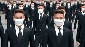 Crowd of people in protective medical masks, 3d animation