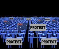Crowd of people with protest signs and Australian flags illustration. Crowd of people with protest signs and Australian flags 3d illustration royalty free illustration