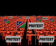 Crowd of people with protest signs and Namibian flags illustration. Crowd of people with protest signs and Namibian flags 3d illustration Stock Images