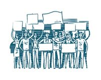Crowd of people protesters. Manifest, protest concept. Sketch vector illustration vector illustration