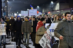 Crowd of people protesting against Romanian corrupt politicians Stock Photos