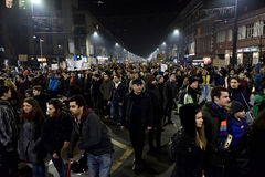 Crowd of people protesting against Romanian corrupt politicians Royalty Free Stock Photo