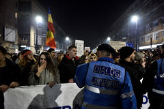 Crowd of people protesting against Romanian corrupt politicians Stock Image