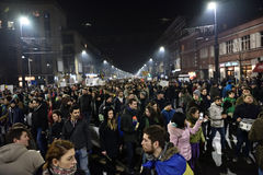 Crowd of people protesting against Romanian corrupt politicians Royalty Free Stock Photography